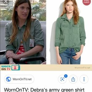 Madewell Green Button Down Tomboy Workshirt
